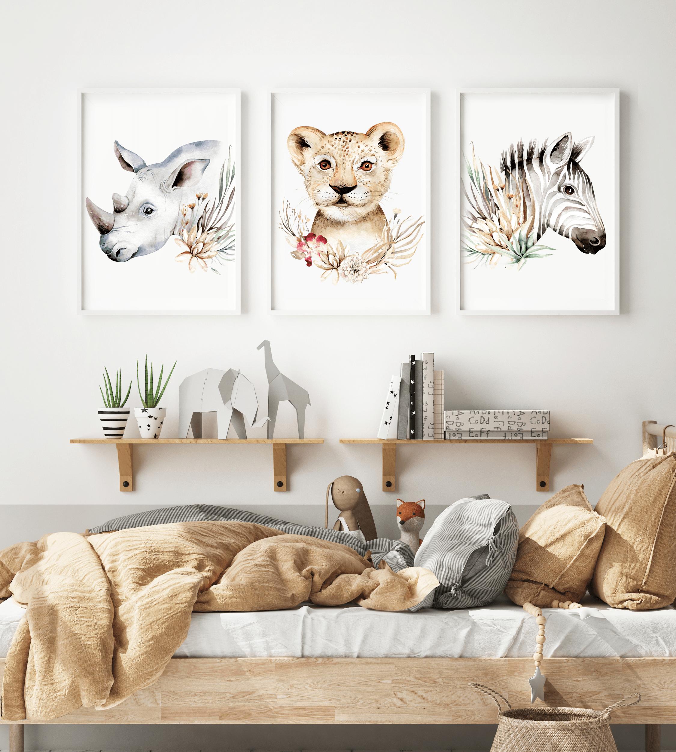 Plakaty Safari  Lew, Zebra, Nosorożec